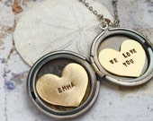 Personalized jewelry, Custom name necklace, WE LOVE YOU locket, birthdate necklace, Heart jewelry Personalized locket gift for Daughter