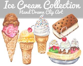 Ice Cream Clip Art - Food Clipart, Hand Drawn Clip Art, Food Illustration, Marker Art, Ice Cream Cone, Banana Split, Digital Download