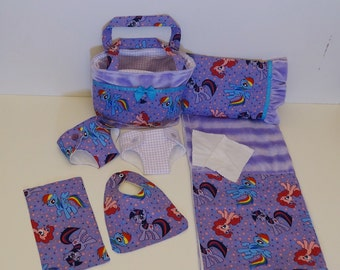 Bitty Baby Basics in My Little Pony - Diaper Bag and Diapers with Blanket and Pillow