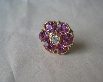 Flower Pink Gold Lapel Pin Rhinestone Brooch Vintage