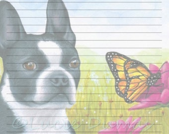 Digital Printable Journal Page Dog 134 Boston Terrier Stationary 8x10 Download Scrapbooking Paper Template art painting L.Dumas