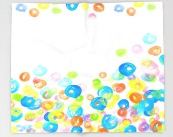 Throw Blanket, Fleece Blanket, Sofa Throw, Design 21 circles round watercolor by Lucie Dumas