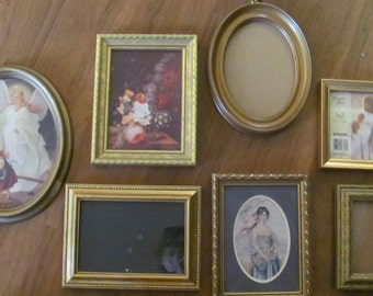 Lot 7  Gold Picture Frames, Oval, Wall Gallery, Hollywood Glamour, Paris Apt .Repurpose Frames