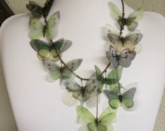 I Will Fly Away - Handmade Green and Ivory Silk Organza Butterflies Necklace - One of a Kind