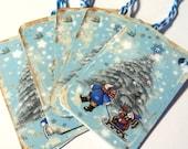 8 Christmas Gift Tags, Blue White Snowmen, Handmade Tags, Merchandise Tags