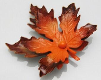 Fall Leaf Brooch Orange Red Enamel Vintage Jewelry Autumn P7465