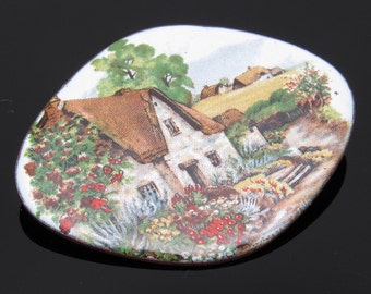 Enamel Cottage Brooch Vintage Jewelry Thatched Roof England P7498