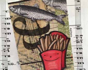 Fish & Chips original mixed media ACEO / ATC