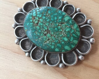 Mid Century Turquoise and Silver brooch