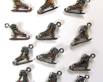 12 Silver Ice Skates Charms 12X15mm