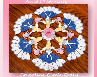 0744 Alice's Tea Party Crinoline Circle Doily Crochet Pattern