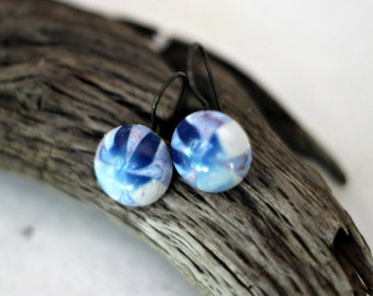 Blue Skies Earrings, Cloudy Blue Cabochon, Vintage Lucite, Round Funky Dangles, Under 10, Matching Pendant