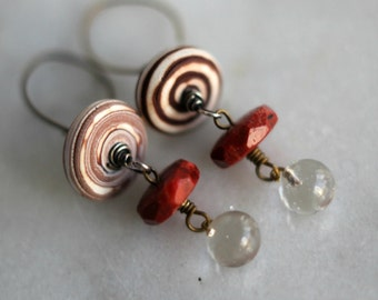 Red Brown Dangle Earrings, Polymer Clay, Brown Swirl, Boho, Faceted Red Brown Agate, Clear Glass Drops
