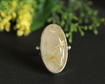 ON SALE Artisan ring- OOAK Rutil Quartz ring - Custom ring - Bezel ring - Gemstone ring - 925 Sterling Silver ring - Gift for her