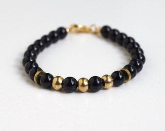 Bracelet: Black Agate Beads and Brass Tubes
