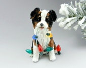 Australian Shepherd Tricolor Christmas Ornament Figurine Lights Porcelain