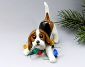 Beagle Tricolor Christmas Ornament Figurine Lights Porcelain