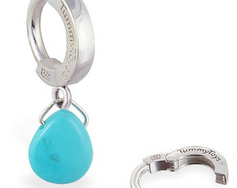 Sterling Silver and Turquoise Tear Drop Belly Button Ring Exclusively from TummyToys (69027)