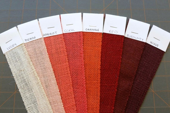 6 Inch Burlap Ribbon x 3  yards - Red - Coral - Burgundy - Orange - Peach