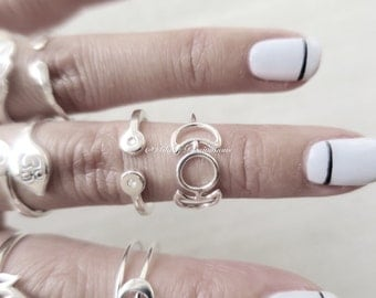 Sterling Silver Phases of the Moon Ring - Solid 925 - Insurance Included