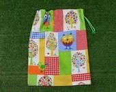 Owls drawstring bag, medium size storage bag, toy bag, activity bag, craft bag