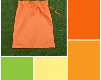 Medium cotton drawstring bag, NEW colours, orange lemon apple for toys, library, storage