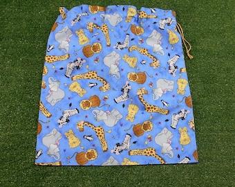 Kids large drawstring bag for library or toys, baby animals cotton drawstring bag