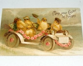 Antique Postcard Germany Easter Embossed Chicks in Car wearing Goggles Pink Rose Garland