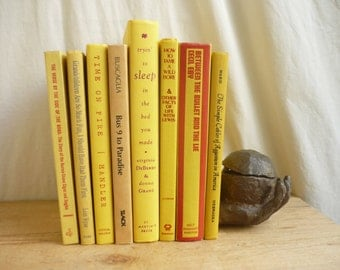 Yellow Books, Instant Library Collection, Vintage Decorative Books by Color, Book Bundle, Photo Props