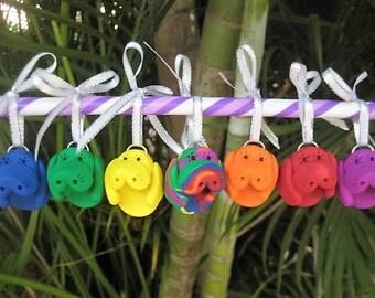 Mini Primary Colors Rainbow Manatee Ornaments