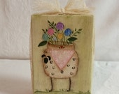 Primitive Sheep Shelf Sitter, Folk Art
