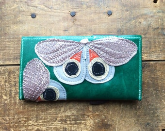 handmade leather moth wallet: taupe io moths on emerald green