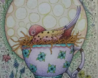 Bird in teacup pen and ink color pencil drawing