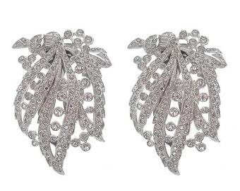 Antique Art Deco Dress Clip, Statement Vintage Rhinestone Brooches, 1920s Fine Antique Wedding Jewelry, Art Deco Jewellery