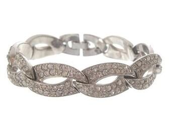 Art Deco Bracelet, Vintage Rhinestone Oval Link, Bridal Jewelry, 1920s Antique Art Deco Bracelet, Vintage Statement Jewellery