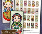 Matryoshka Digital Collage Sheet -Nesting Doll Collage Sheet- Domino Collage Sheet - 1x2 Domino Images - Digital Paper - DIY Craft Images