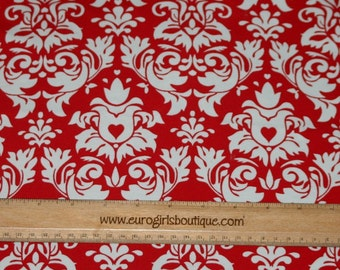1 yard Knit Damask Red