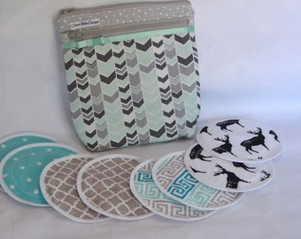 WET/DRY Wet bag ,  Nursing pad pouch, breast  pad accessories, cotton print,pul,and/or 4 pairs nursing breast pads