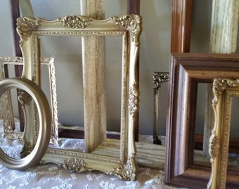 Unique True All Vintage Large Set of 14 Open Picture Frames for Wall Gallery Gold and Wood Antique Wedding Old
