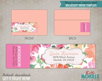 Watercolor Floral Wrap Around Return Address Labels - Instant Download #S111