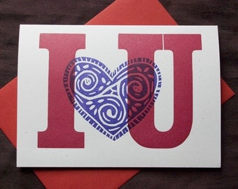 I heart U Letterpress Greeting Card Handprinted From Vintage Wood Type
