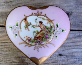 Vintage Heart Shaped Porcelain Bisque Trinket Box