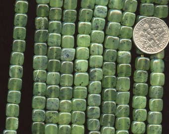 "CANADIAN JADE 6mm Flat Square beads 7.75"" half strand Natural Color"