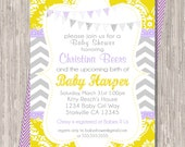 BABY GIRL Baby Shower Invitation, baby shower invite,purple, lilac, yellow, gray, banners