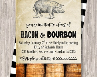 Bacon & Bourbon Dinner Party Invitation - bacon and bourbon, black and white, 5x7 printable JPG PDF