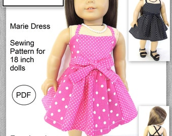 "Marie Dress - PDF Sewing Pattern for 18"" dolls"