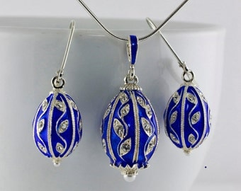 Jewelry Set Necklace And Earrings Sterling Silver Blue Enamel Eggs Leaves Designer Gift For Her