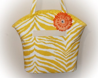 FREE Shipping USA Canada - J Castle Boutique Bag - Yellow Animal Print Canvas Fabric - (Ready to Ship)