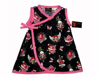 Punk Rock Dress - Goth Clothing - Skull And Crossbones - Butterfly Dress - Heart Dress - Toddler Dress - Girls Dress - 4t - 5t - 6