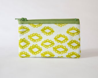 Small Zipper Pouch, Green Pattern, Coin Purse, Small Wallet, Card Wallet, Gadget Case, Ready to ship, Gift idea